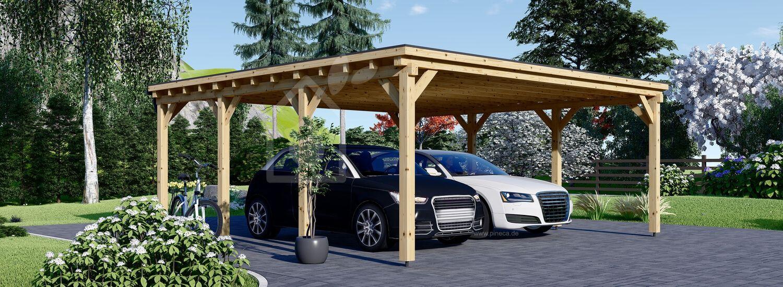 Carport aus Holz für 2 Auto MODERN, 6x6 m visualization 1
