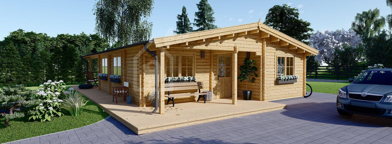 Blockbohlenhaus LINDA (Isoliert, 44+44 mm), 78 m² + 15 m² Terrasse  visualization 1