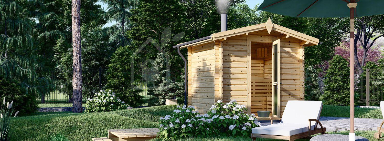 Gartensauna ELDA (44 mm), 2,5x2 m, 5 m² visualization 1