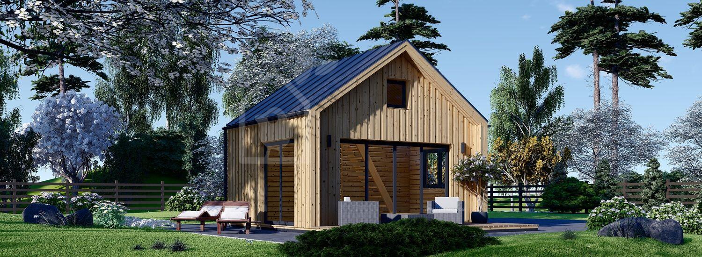 Blockbohlenhaus SARA (Extra Isoliert, 44 mm + Holzverschalung), 20 m² visualization 1