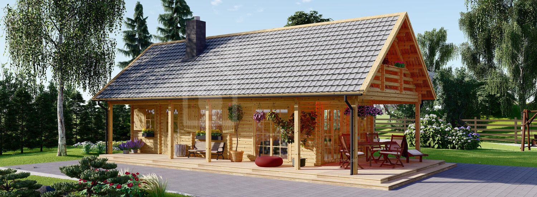 Blockbohlenhaus AURA (44+44 mm), 139 m² visualization 1