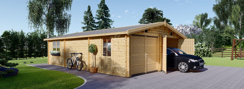 Doppelgarage aus Holz (44 mm), 6x8 m, 48 m² visualization 1