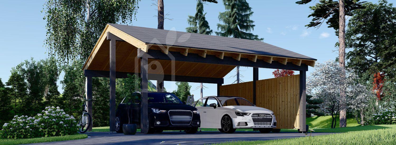 Carport aus Holz für 2 Autos Mit Seitenwand LUNA DUO, 6x6 m visualization 1