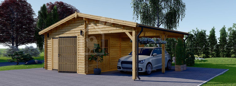 Holzgarage mit Carport (44 mm) 4x6 m + 3x6 m (Carport), 40 m² visualization 1