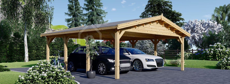 Carport aus Holz für 2 Autos CLASSIC, 6x6 m visualization 1