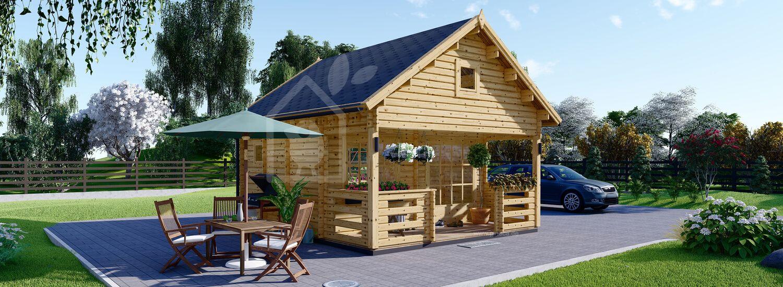 Blockbohlenhaus mit Schlafboden und Terrasse ALBI (44 mm), 20 m² + 8 m² visualization 1