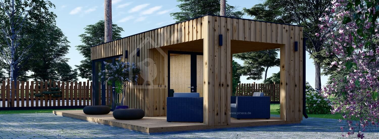 Gartenbüro PREMIUM (Isoliert, SIPS), 5x3 m, 15 m² Mit Terrasse 3x3 m, 9 m² visualization 1
