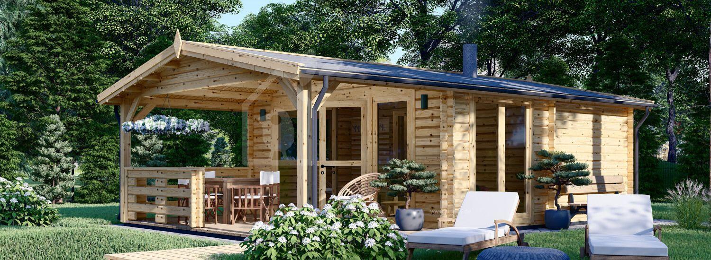 Gartensauna ELDA mit Terrasse (44 mm ), 5x7,5 m; 25 m² + 12 m² (3 Räume) visualization 1