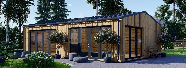 Blockbohlenhaus MARINA Modern (44 mm + Holzverschalung), 8x6 m, 48 m² visualization 1