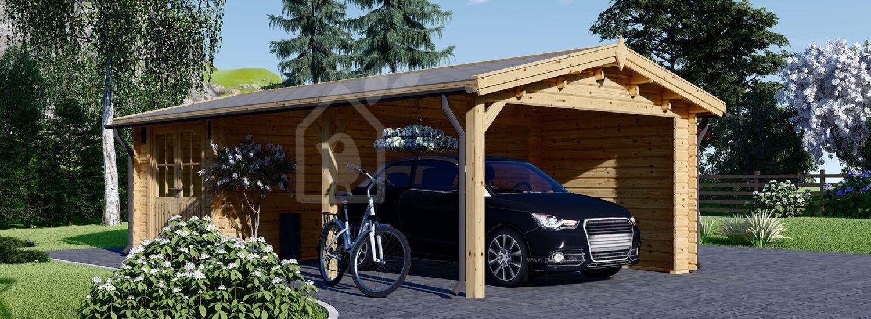 Carport aus Holz für 1 Auto mit Schuppen (44 mm), 4x7.5 m visualization 1
