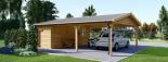Carport aus Holz für 2 Autos mit Schuppen, 7.7x6 m visualization 7