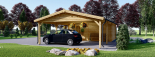 Holzgarage (44 mm) 4x6 m mit Doppelcarport aus Holz 5.5x6 m, 57 m² visualization 6