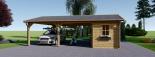 Carport aus Holz für 2 Autos mit Schuppen, 7.7x6 m visualization 3