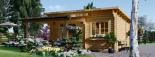 Gartenhaus HELEN (44 mm) 6x4 m, 24 m² mit 12.5 m² Terrasse visualization 3