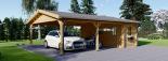 Carport aus Holz für 2 Autos mit Schuppen, 7.7x6 m visualization 1