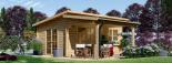 Gartenhaus HELEN (44 mm) 6x4 m, 24 m² mit 12.5 m² Terrasse visualization 1