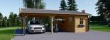 Carport aus Holz für 2 Autos mit Schuppen, 7.7x6 m visualization 2