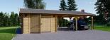 Holzgarage (44 mm) 4x6 m mit Doppelcarport aus Holz 5.5x6 m, 57 m² visualization 2