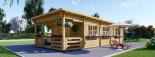 Blockbohlenhaus HYMER (66 mm) 42 m² mit Flachdach  visualization 2