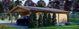 Doppelgarage aus Holz (44 mm) 6x6 m mit Carport 3x6 m, 54 m² visualization 7
