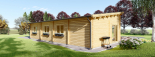 Blockbohlenhaus BERTA (66 mm) 105 m² mit Flachdach visualization 5