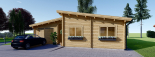 Blockbohlenhaus BERTA (66 mm) 105 m² mit Flachdach visualization 3