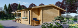 Blockbohlenhaus PARIS (44 mm) 21 m² visualization 5