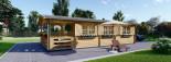 Isoliertes Blockbohlenhaus HYMER 42 m² visualization 3