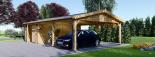 Holzgarage (44 mm) 4x6 m mit Doppelcarport aus Holz 5.5x6 m, 57 m² visualization 5