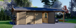 Doppelgarage aus Holz (44 mm) 6x6 m mit Carport 3x6 m, 54 m² visualization 3