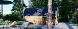 Fassauna HELGA 40 (46 mm) 4.0 m, ⌀ 1.97 m mit Panoramafenstern als Rückwand (halbhoch)  visualization 4