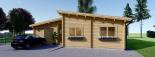 Blockbohlenhaus BERTA (44 + 44 mm) 105 m² mit Flachdach  visualization 3