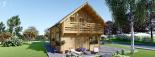 Blockbohlenhaus LANGON (66 mm) 108 m² mit extra Schneelast visualization 4