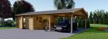 Holzgarage (44 mm) 4x6 m mit Doppelcarport aus Holz 5.5x6 m, 57 m² visualization 4