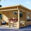 Blockbohlenhaus HYMER (66 mm) 42 m² mit Flachdach  visualization 1